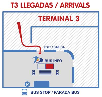 parada de autobús en llegadas de la Terminal T3