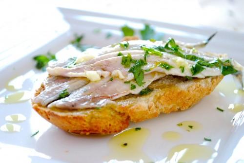 Spanish anchovies tapa