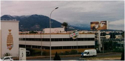snow covering mountains next to Malaga airport