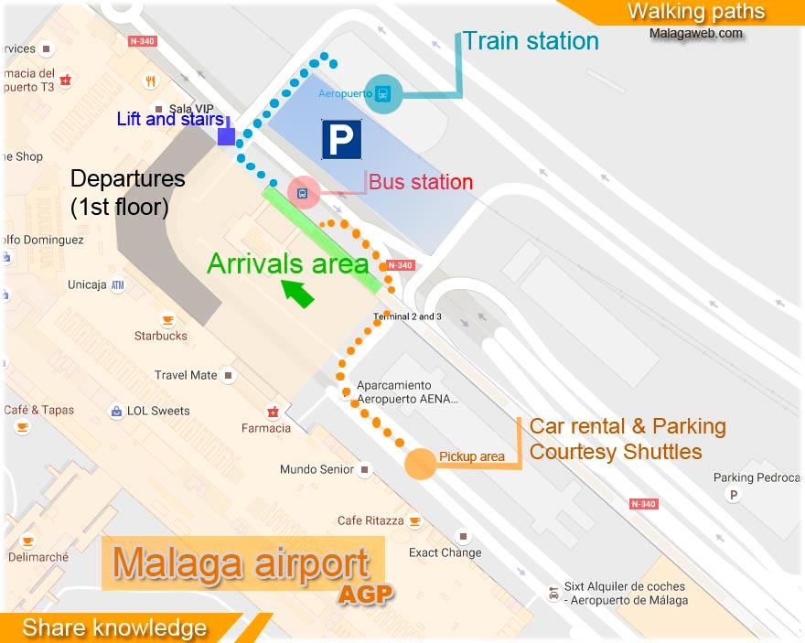 Malaga airport transport map for arrivals and departures