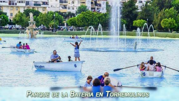 Boats on the artificial lake in Parque de la Bateria