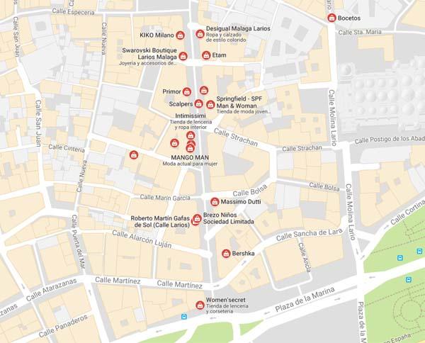 map for shopping Malaga city