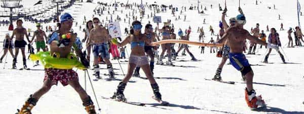skiing in Sierra Nevada, Spain, in swimsuit