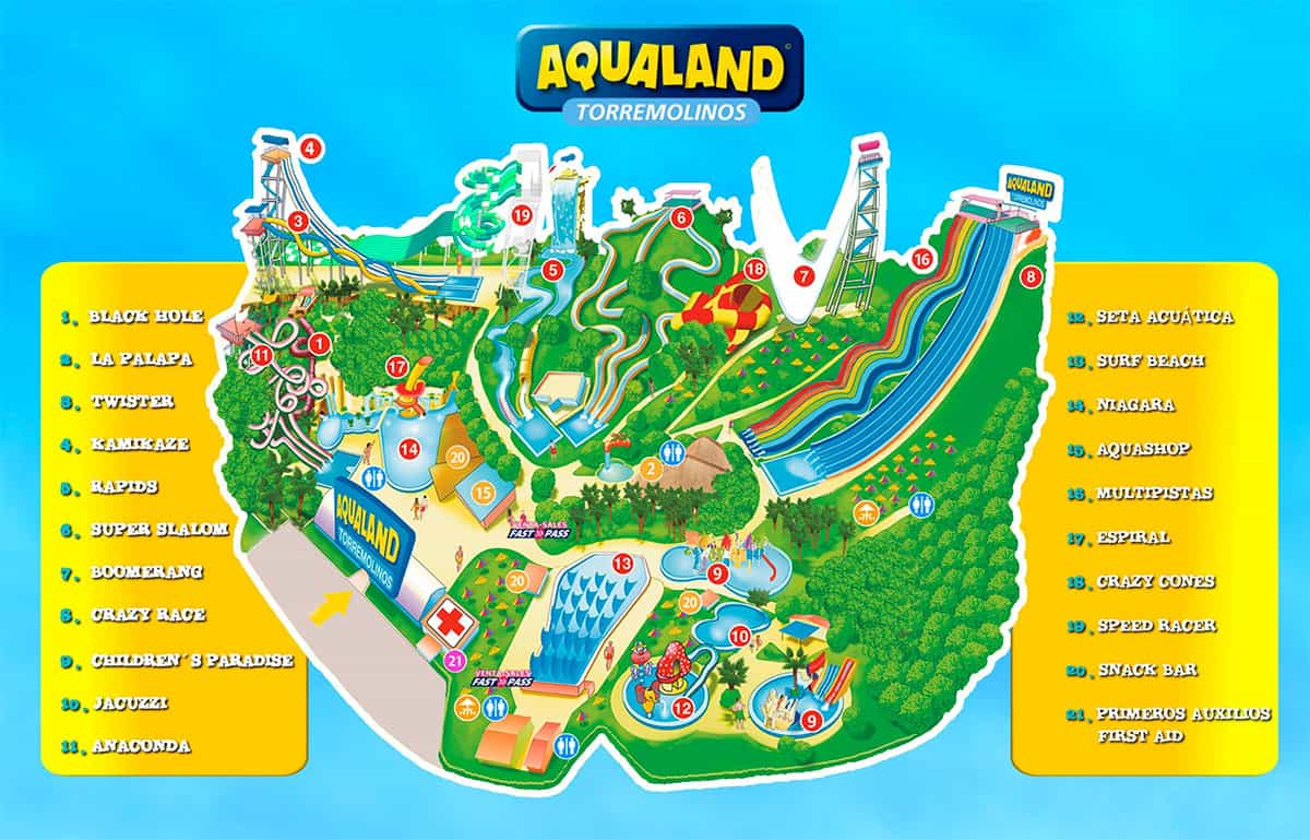 Aqualand map Torremolinos