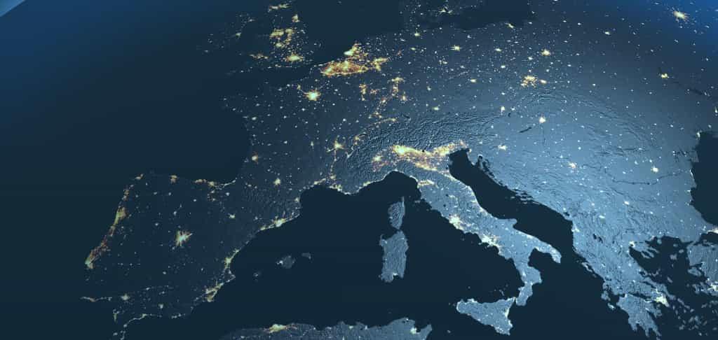 Mapa de europa por la noche