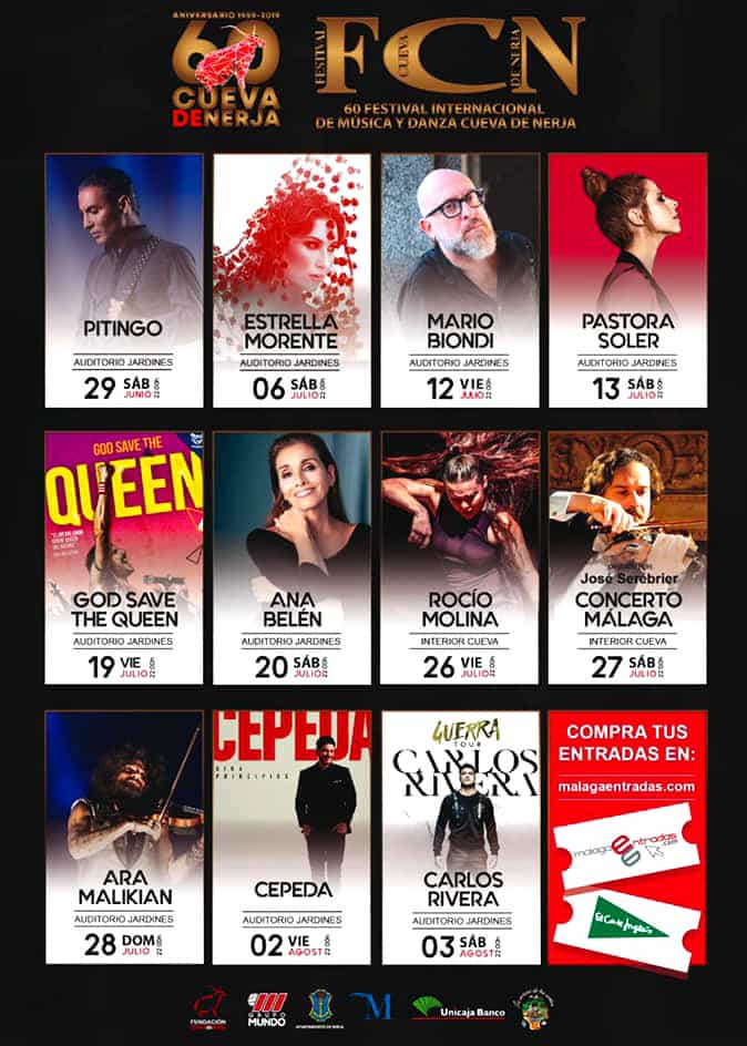 Program of the Nerja Caves Festival in 2019