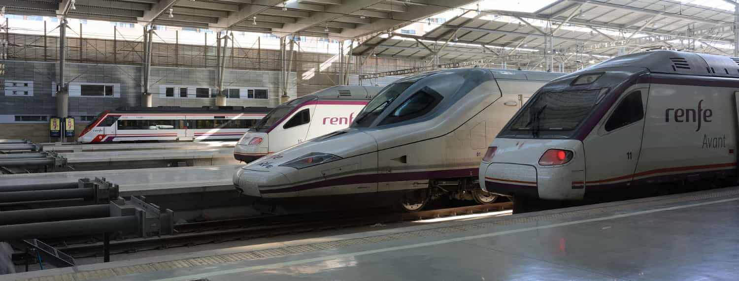 Different types of trains in the station