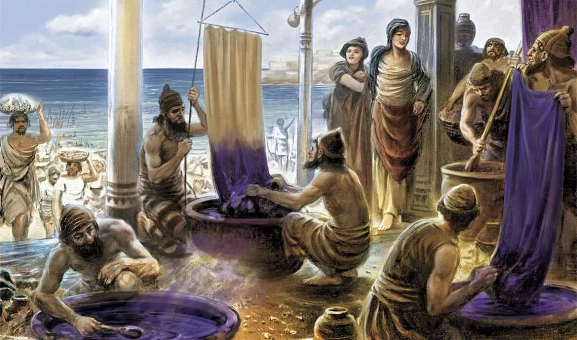 Illustration of a purple dye factory by the sea and Phoenicians