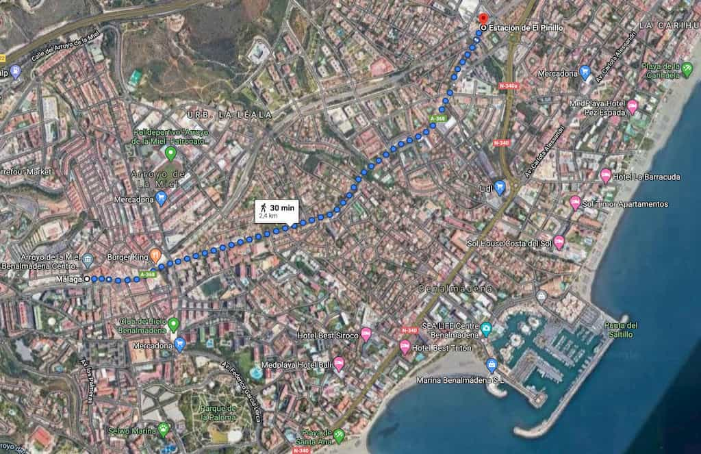 Walking route between Benalmadena and Torremolinos