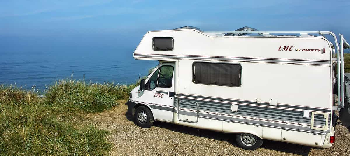 Camping area for motorhomes on the beach