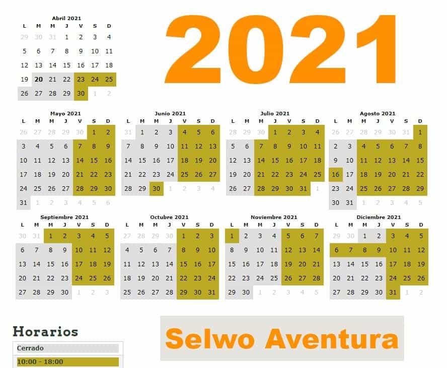 Horario y fechas de apertura Selwo Aventura