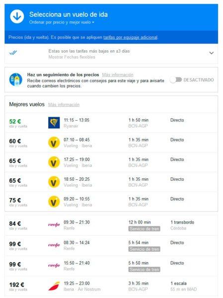 precios de tren vs precios de avión