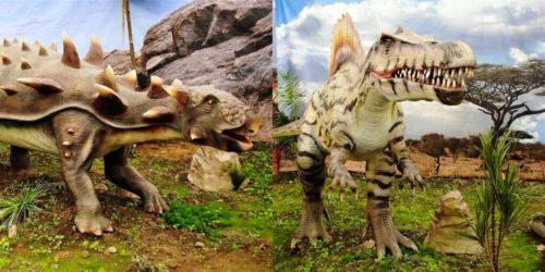 foto de figuras animatrónicas de dinosaurios