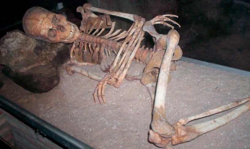 Skelett in der Höhle von Nerja