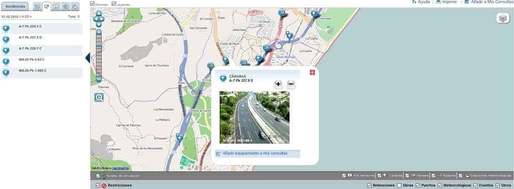 Mapa tráfico Málaga