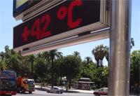 termómetro durante un día de terral en Málaga
