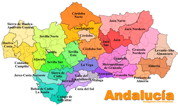 mapa andaluzia Map of Andalucia  Southern Spain   Tourist and road map mapa andaluzia