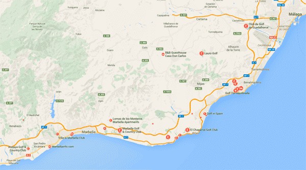 Map of golf courses in Costa del Sol