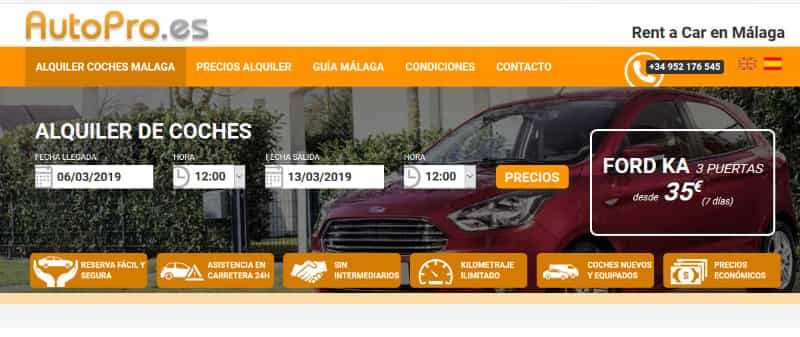 car hire at the airport with autopro.es