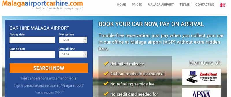 Malaga airport car hire booking form