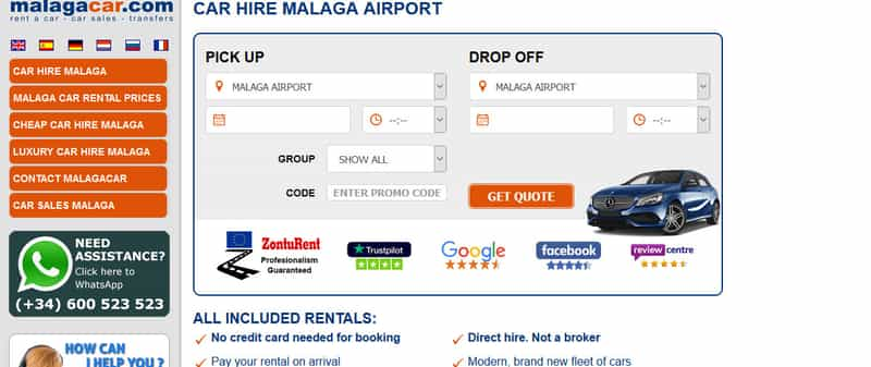 Website for car hire Malaga airport