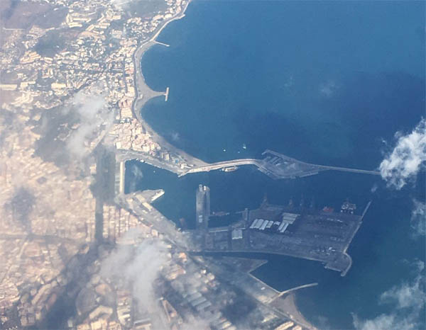 Aerial view of Malaga port