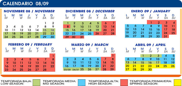 calendario forfait Sierra Nevada