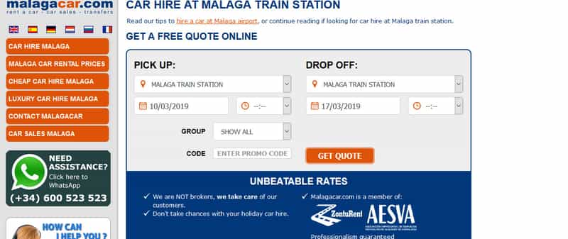 Website for car hire Malaga train station