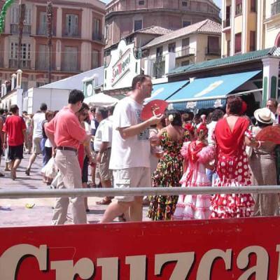 Plaza de la Constitucion in August during Malaga Fair