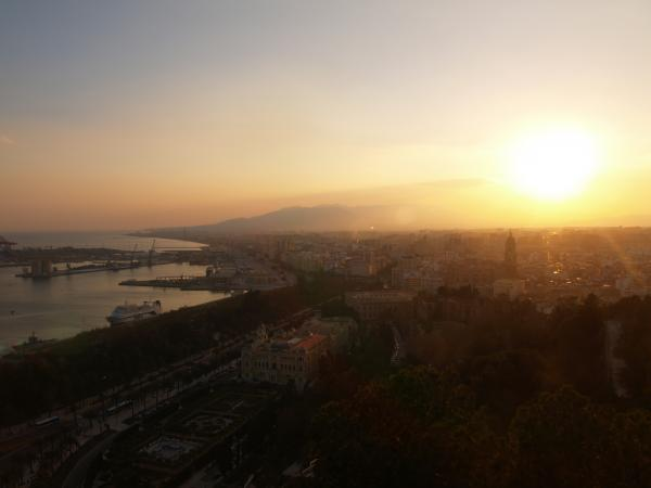 Atardecer desde Gibralfaro en Málaga