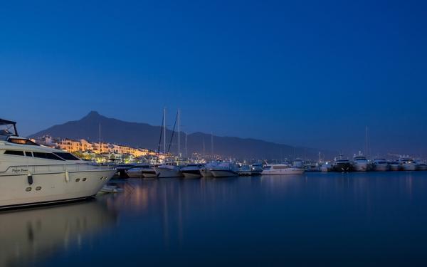 Marbella marina at night