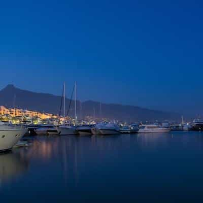 Marbella marina at night