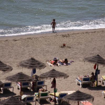 Beach hammocks and umbrellas